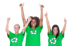 Excited group of enviromental activists giving thumbs up Stock Photo