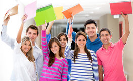 Excited group of students Royalty Free Stock Images