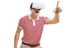 Excited guy experiencing VR Royalty Free Stock Photos