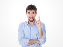 Excited guy pointing a great idea Royalty Free Stock Images