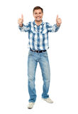 Excited guy showing double thumbs up Royalty Free Stock Photography