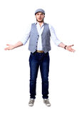 Excited handsome man with arms raised in success -. Excited handsome man with arms raised in success Stock Images