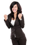 Excited happy asian business woman Stock Photos