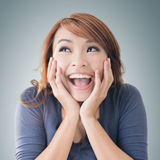 Excited happy Asian girl Royalty Free Stock Photos
