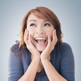 Excited happy Asian girl Stock Images