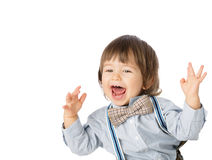 Excited happy baby boy with stylish outfit Stock Images