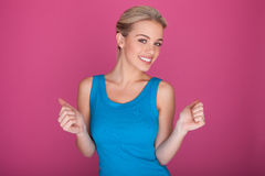 Excited Happy Blonde Beauty Stock Photography