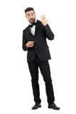 Excited happy bridegroom showing wedding ring on his finger Stock Photography