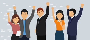 Excited and Happy Business People with Raised Arms. Stock Photography