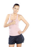 Excited happy caucasian fitness trainer Royalty Free Stock Images