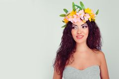 Excited happy laughing woman looking away, side way, flowers headband stock photography