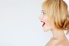 Excited happy red-haired woman profile, free space Stock Images