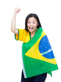 Excited happy soccer fans Royalty Free Stock Photo