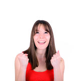Excited happy success young woman with fists up is Stock Images