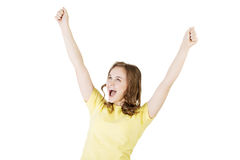Excited happy success young woman Stock Images