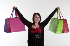 Excited happy teenage girl after shopping spree Royalty Free Stock Photography
