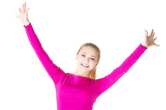 Excited happy woman with hands up Stock Photo