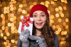 Excited happy young woman holding blank cards with red ribbon Royalty Free Stock Photo