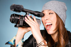 Excited Hip Young Adult Female Points Video Camera Stock Image