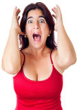 Excited hispanic woman yelling  isolated on white Royalty Free Stock Photography