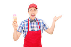 Excited ice cream vendor gesturing with hand Royalty Free Stock Photos