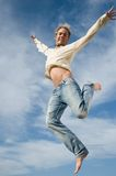 Excited jump in the sky Stock Photos