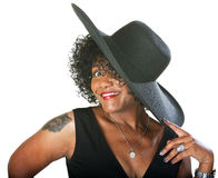 Excited Lady in Large Hat Royalty Free Stock Photo