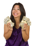 Excited Latino Woman Holding Hundreds of Dollars Stock Photography
