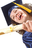 Excited and laughing graduate Stock Photos