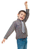 Excited little boy. Shouting and holding a hand up isolated on white background.Check also Children Stock Photo
