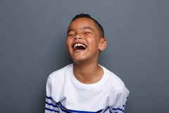 Excited little boy laughing Royalty Free Stock Images
