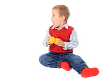 Excited little boy looking to the side. All on white background Stock Photo