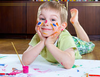 Excited little boy painting Royalty Free Stock Photography