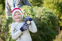 Kid at winter. Excited little boy in santa`s hat carrying christmas tree with his father at farm, winter holiday concept Stock Images