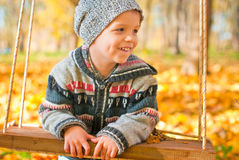 Excited little boy on a swing outdoor. Autumn leaves on background Stock Photo