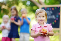 Excited little girl going to a preschool Royalty Free Stock Images