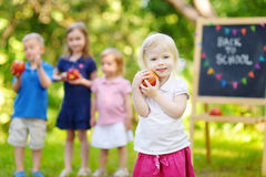 Excited little girl going to a preschool Royalty Free Stock Photos