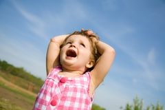 Excited Little Girl Outside Stock Photos