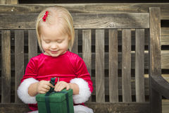 Excited Little Girl Unwrapping Her Gift on a Bench. Adorable Little Girl Unwrapping Her Gift on a Bench Outside Royalty Free Stock Photos