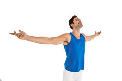Excited male athlete with arms outstretched Royalty Free Stock Photo