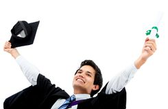 Excited male graduate Stock Images