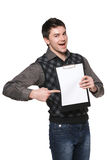Excited man with blank board Stock Photos