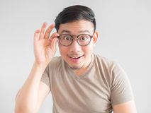 Excited man with eyeglasses. stock photo