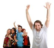 Excited man and group Stock Image