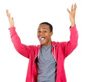 Excited man with hands up in the air Royalty Free Stock Photo