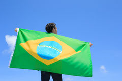 Excited man holding brazil flag Royalty Free Stock Image