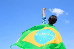 Excited man holding brazil flag Stock Image