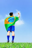 Excited man holding a brazil flag Stock Photography