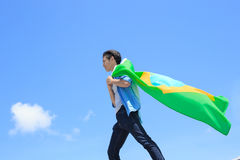 Excited man holding brazil flag Stock Images