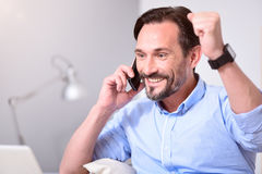 Excited man joying a victory Royalty Free Stock Photography